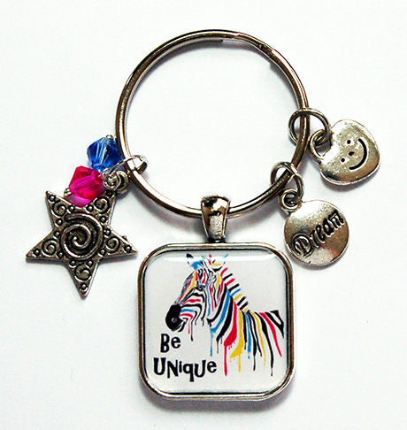 Be Unique Zebra Keychain - Kelly's Handmade