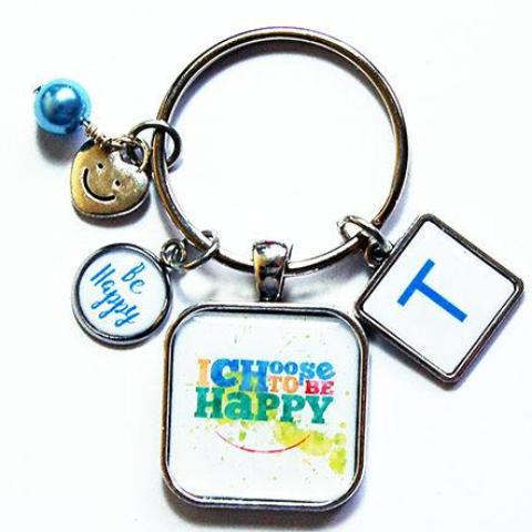 Choose To Be Happy Monogram Keychain - Kelly's Handmade