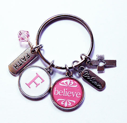 Believe Monogram Keychain in Pink - Kelly's Handmade