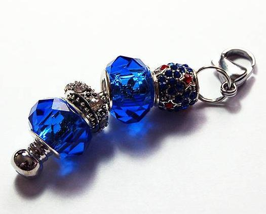 Rhinestone Bead Zipper Pull in Blue - Kelly's Handmade