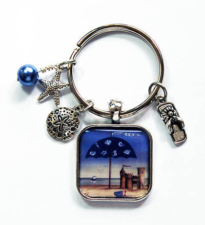 Beach Keychain With Charms in Blue - Kelly's Handmade