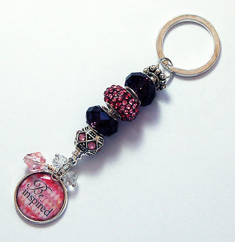 Be Inspired Bead Keychain in Pink - Kelly's Handmade