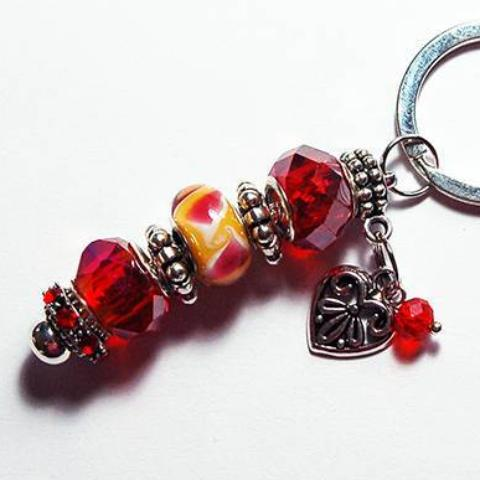 Heart Lampwork Bead Keychain in Red & Yellow - Kelly's Handmade