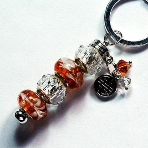 Lampwork Bead Keychain in Amber Brown - Kelly's Handmade