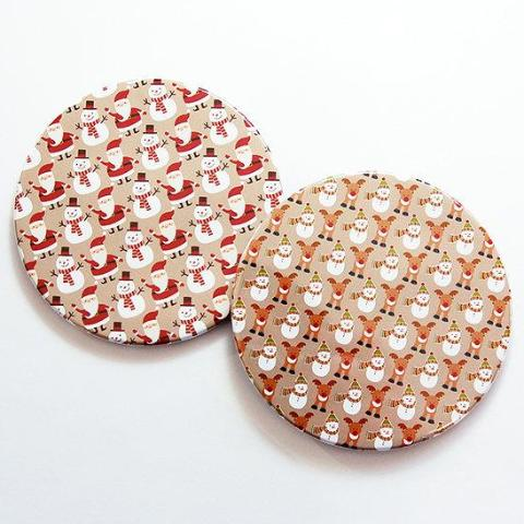 Christmas Coasters in Red & Tan Set 5 - Kelly's Handmade