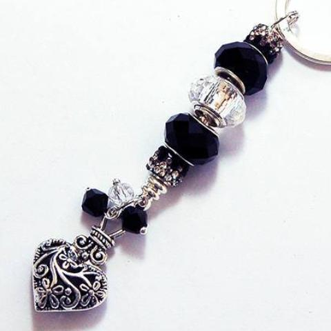Ornate Heart Rhinestone & Bead Keychain in Black & Silver - Kelly's Handmade