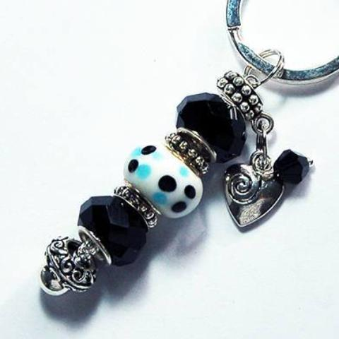 Heart Dotted Lampwork Bead Keychain in Black & White - Kelly's Handmade
