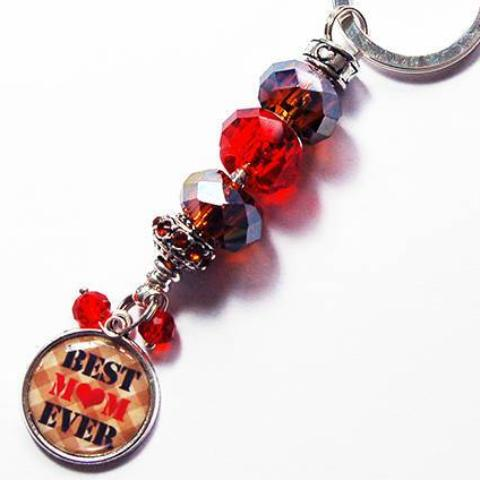 Best Mom Ever Bead Keychain in Red & Brown - Kelly's Handmade