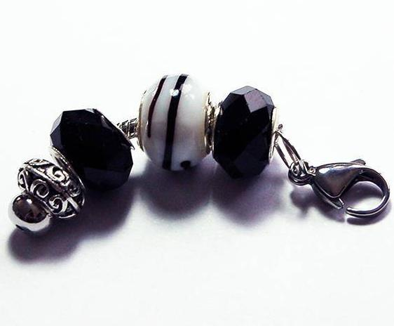 Lampwork Bead Zipper Pull in Black & White - Kelly's Handmade