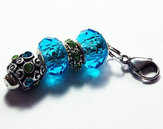 Rhinestone Bead Zipper Pull in Blue & Green - Kelly's Handmade