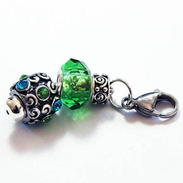 Rhinestone Bead Zipper Pull in Green & Blue - Kelly's Handmade