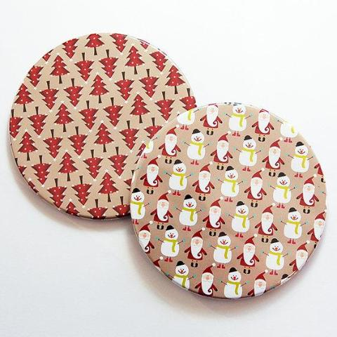 Christmas Coasters in Red & Tan Set 4 - Kelly's Handmade