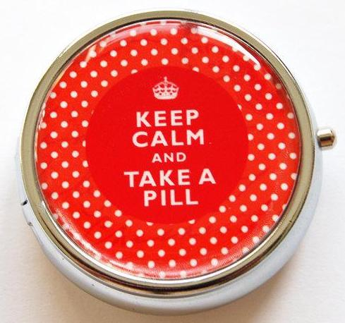 Keep Calm Round Pill Case in Red Polka Dot - Kelly's Handmade