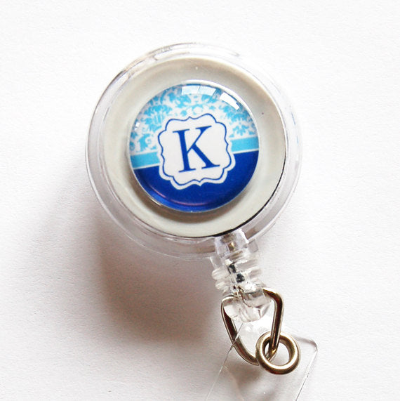 Monogram ID Badge Reel in Blue - Kelly's Handmade