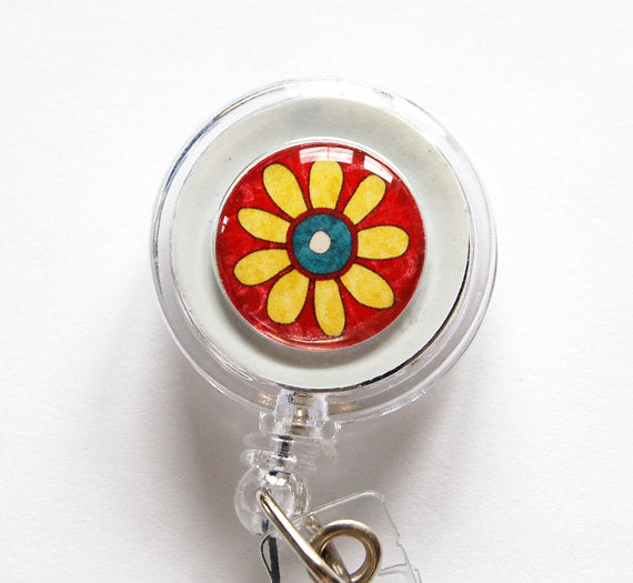 Flower ID Badge Reel - Red & Yellow - Kelly's Handmade