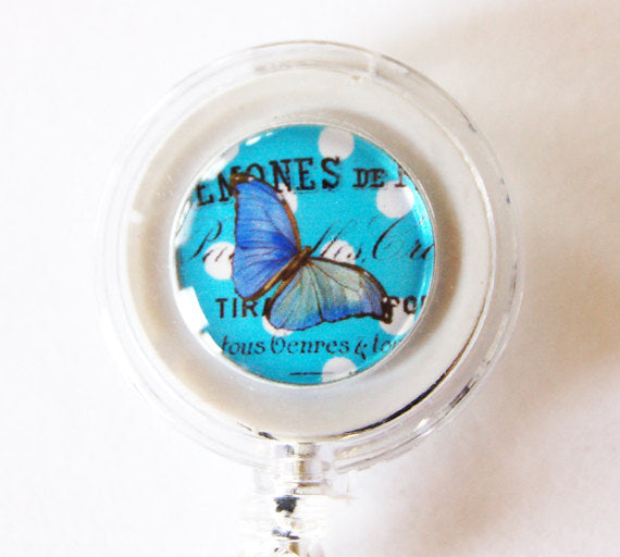 Blue Butterfly ID Badge Reel - Kelly's Handmade