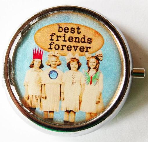 Best Friends Forever Round Pill Case - Kelly's Handmade