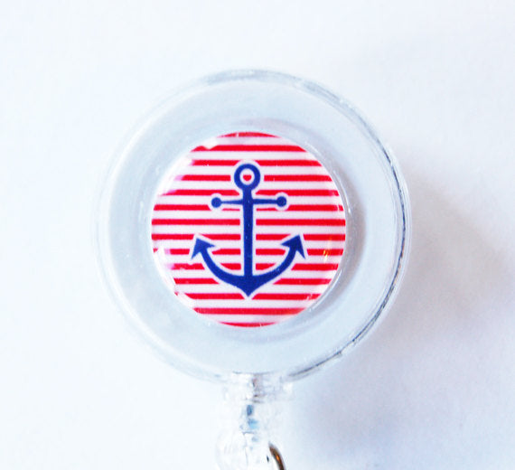 Anchor ID Badge Reel in Red White & Blue - Kelly's Handmade