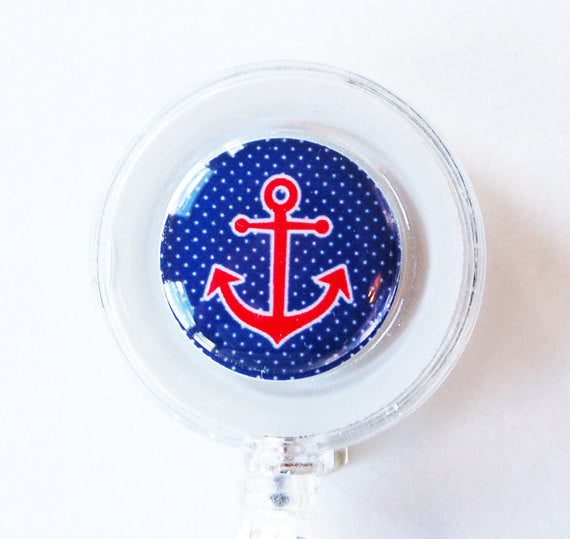 Anchor ID Badge Reel in Blue Red & White - Kelly's Handmade