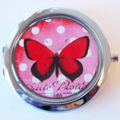 Butterfly Compact Mirror in Red & White - Kelly's Handmade
