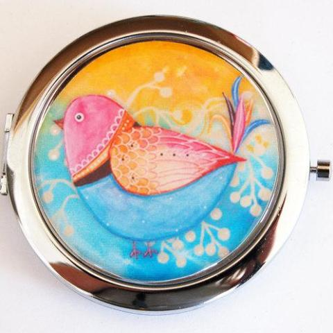 Bird Compact Mirror in Blue Pink & Yellow - Kelly's Handmade