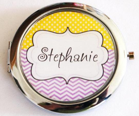 Chevron Dots Personalized Compact Mirror in Yellow & Purple - Kelly's Handmade