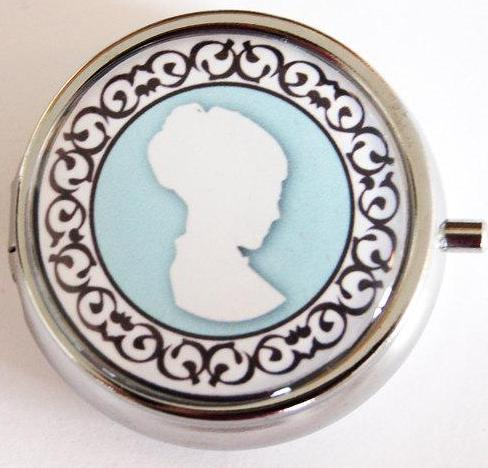 Cameo Something Blue Round Pill Case in Blue - Kelly's Handmade