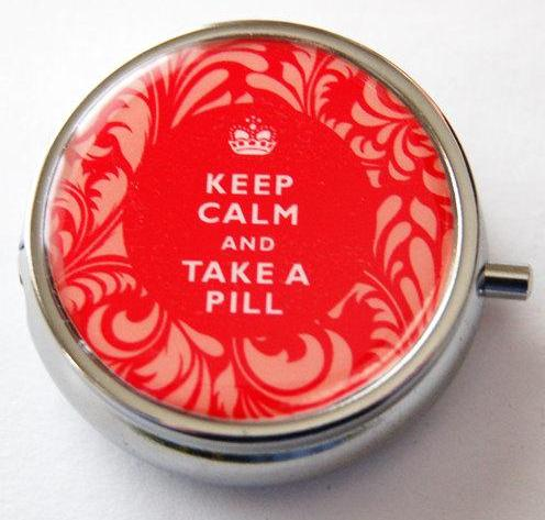Keep Calm Round Pill Case in Red Damask - Kelly's Handmade