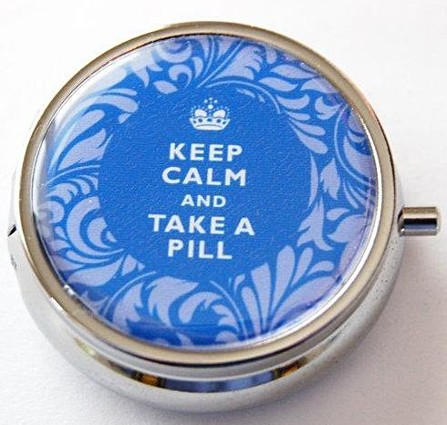 Keep Calm Round Pill Case in Blue Damask - Kelly's Handmade