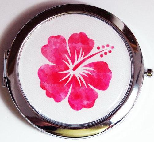 Hibiscus Hawaii Compact Mirror in Pink - Kelly's Handmade