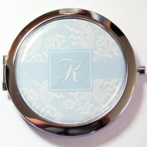 Something Blue Bride Compact Mirror with Monogram - Kelly's Handmade