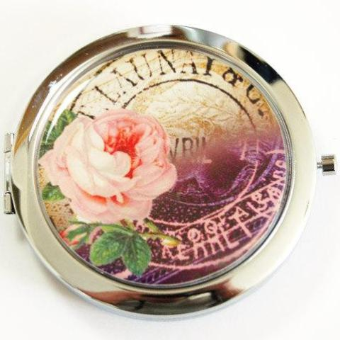 Rose Compact Mirror in Pink & Purple - Kelly's Handmade