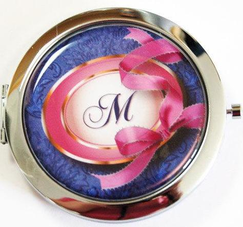 Ribbon Monogram Compact Mirror in Blue & Pink - Kelly's Handmade