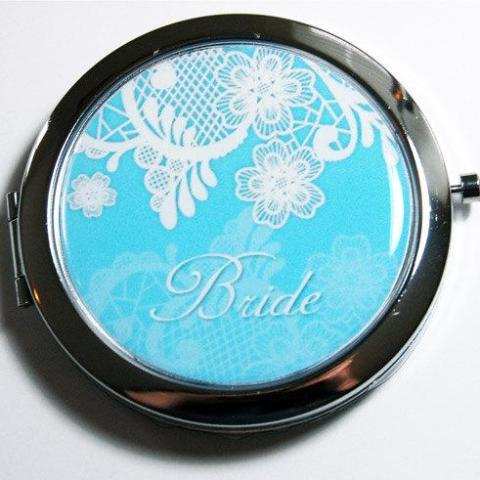 Bride's Something Blue Lace Personalized Compact Mirror - Kelly's Handmade