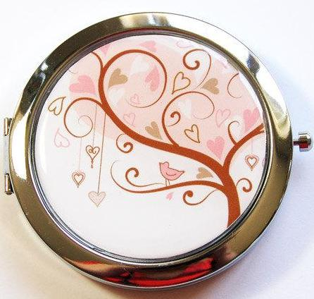 Heart Tree Compact Mirror in Pink & Brown - Kelly's Handmade