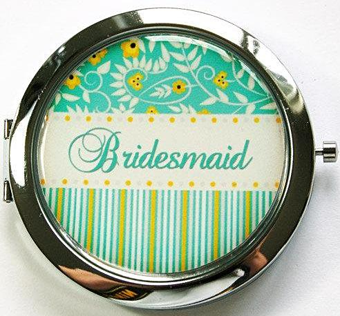 Striped & Flowers Personalized Compact Mirror in Green - Kelly's Handmade