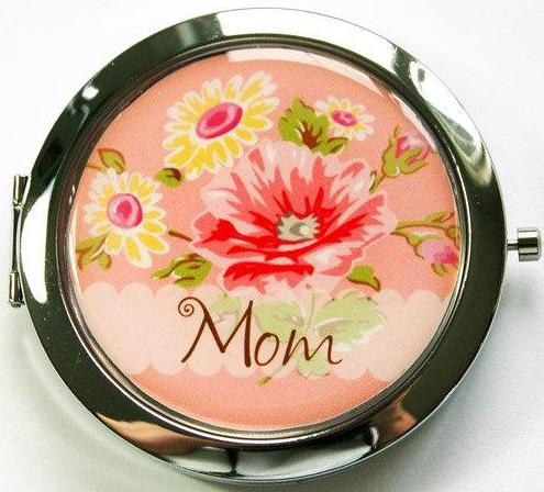 Floral Personalized Compact Mirror in Peach - Kelly's Handmade