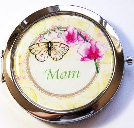 Butterfly Floral Personalized Compact Mirror #1 - Kelly's Handmade