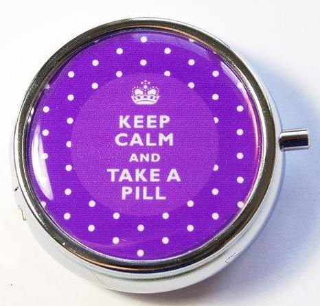 Keep Calm Round Pill Case in Purple Polka Dot - Kelly's Handmade