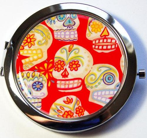 Sugar Skull Compact Mirror in Red - Kelly's Handmade