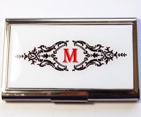 Ornate Scroll Monogram Business Card Case - Kelly's Handmade