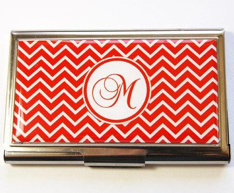 Chevron Monogram Business Card Case in 3 Colors - Kelly's Handmade