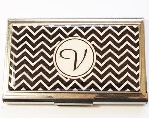 Chevron Monogram Business Card Case in 2 Colors - Kelly's Handmade