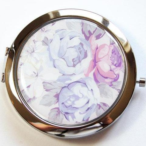 Bride's Something Blue Compact Mirror in Blue & Pink - Kelly's Handmade