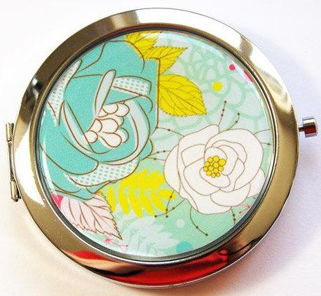 Floral Compact Mirror in Turquoise - Kelly's Handmade
