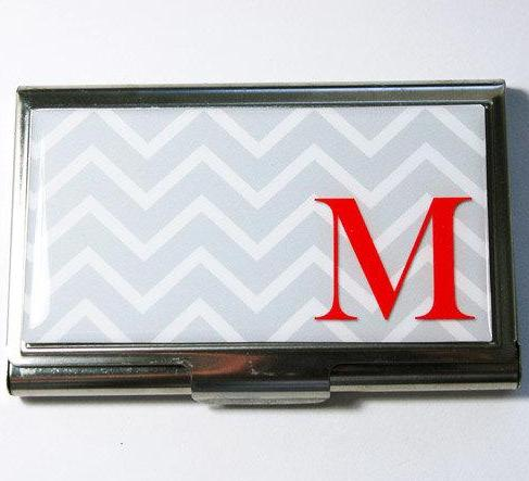 Chevron Monogram Business Card Case in 4 Bright Colors - Kelly's Handmade