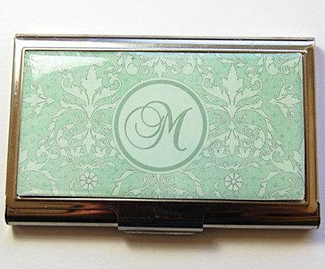 Damask Monogram Business Card Case in Green - Kelly's Handmade