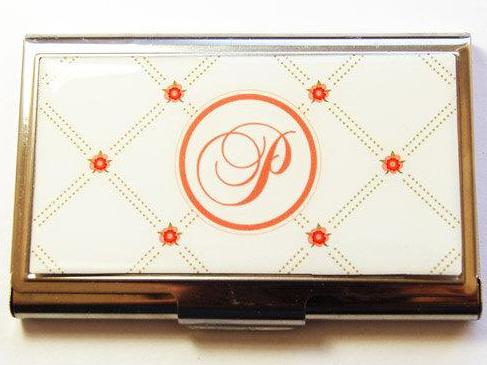 Flower Monogram Business Card Case in Ivory & Orange - Kelly's Handmade