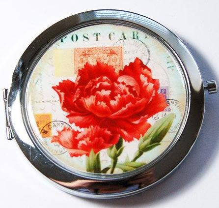 Flower Post Card Compact Mirror in Red - Kelly's Handmade