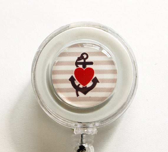 Anchor & Heart ID Badge Reel - Kelly's Handmade